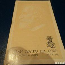 Libretos de ópera: GRAN TEATRO DEL LICEO BARCELONA CONMEMORACION DEL ESTRENO ABSOLUTO DE AIDA. Lote 65950670