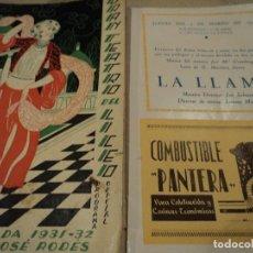 Libretos de ópera: GRAN TEATRO DEL LICEO BARCELONA LA LLAMA 1932 MARIA ESPINALT. Lote 68775801