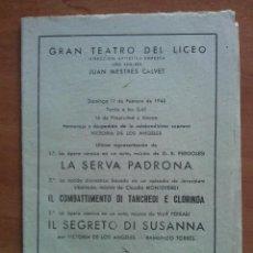 Libretos de ópera: 1945 HOMENAJE A VICTORIA DE LOS ANGELES - TEATRO LICEO BARCELONA. Lote 68888757