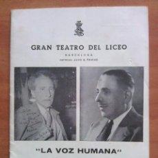 Libretos de ópera: 1965 SEPARATA :LA VOZ HUMANA - TEATRO LICEO BARCELONA. Lote 68889429