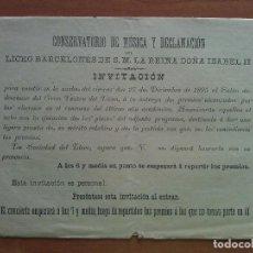 Libretos de ópera: 1895 INVITACIÓN Y PROGRAMA - TEATRO LICEO BARCELONA. Lote 68889613