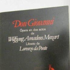 Livrets d'opéra: DON GIOVANNI DE WOLFANG AMADEUS MOZART (PLANETA DE AGOSTINI) EDICIÓN ITALIANO-ESPAÑOL. Lote 70107269