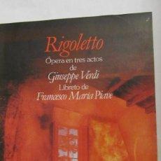 Libretos de ópera: RIGOLETO DE GIUSEPPE VERDI (LIBRETO EN ITALIANO Y ESPAÑOL )(PLANETA AGOSTINI). Lote 72709699