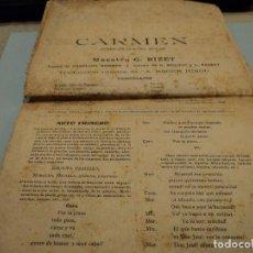 Libretos de ópera: TEXTO INTEGRO DE CARMEN OPERA EN CUATRO ACTOS EN ESPAÑOL 1910/15. Lote 78450933