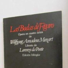 Livrets d'opéra: LAS BODAS DE FÍGARO DE W.AMADEUS MOZART (EDICIÓN BILINGÜE ITALIANO-ESPAÑOL) (PLANETA-AGOSTINI). Lote 78652857