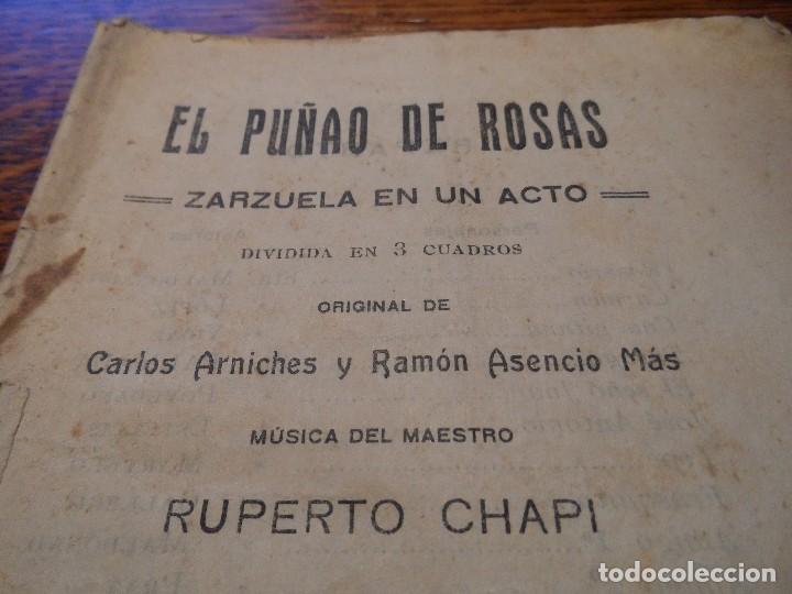 LIBRETO DE LA ZARZUELA EN UN ACTO -EL PUÑAO DE ROSAS-, ARNICHES, 7ª EDICIÓN, AÑO 1907 (Música - Libretos de Opera)