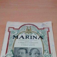 Libretos de ópera: OPERA ESPAÑOLA EN 3 ACTOS FRANCISCO CAMPRODON EMILIO ARRIETA MARINA IMP MARFANY . Lote 83860748