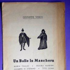 Livrets d'opéra: MARIA CALLAS - UN BALLO IN MASCHERA - 1960 . Lote 112180414