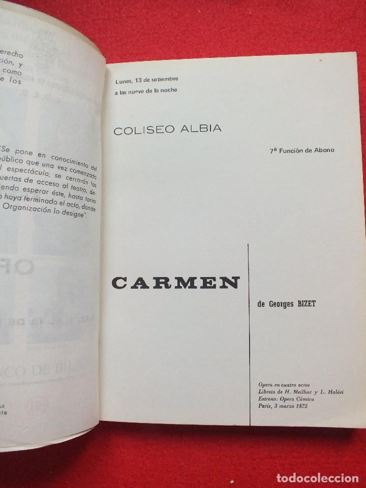 Libretos de ópera: ABAO BILBAO XXV FESTIVAL DE OPERA 1976 BIZET CARMEN LIBRETO CON ARGUMENTO, FOTOGRAFIA CORO - Foto 6 - 85056104