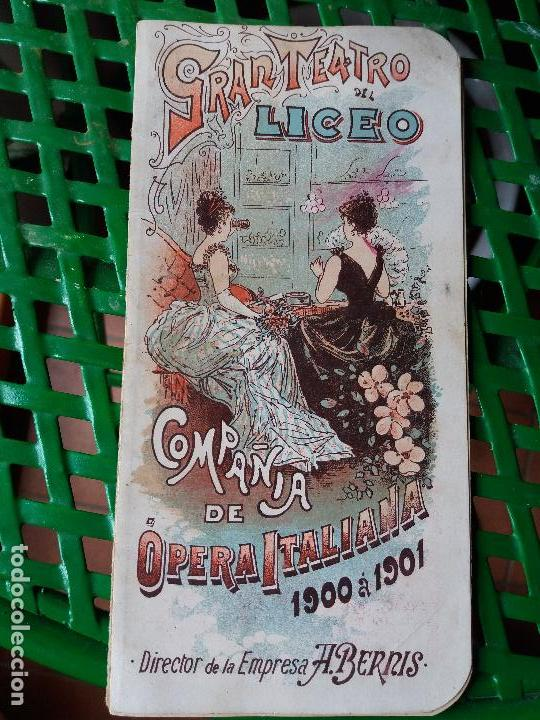 PROGRAMA GRAN TEATRO DEL LICEO 1900 A 1901 COMPAÑIA DE OPERA ITALIANA - SIGNOR BONCI - MIGNON (Música - Libretos de Opera)