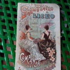 Libretos de ópera: PROGRAMA GRAN TEATRO DEL LICEO 1900 A 1901 COMPAÑIA DE OPERA ITALIANA - SIGNOR BONCI - MIGNON. Lote 88924064