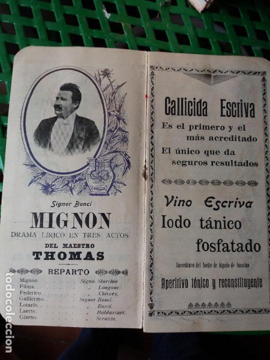 Libretos de ópera: PROGRAMA GRAN TEATRO DEL LICEO 1900 A 1901 COMPAÑIA DE OPERA ITALIANA - SIGNOR BONCI - MIGNON - Foto 2 - 88924064