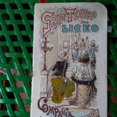 Libretos de ópera: PROGRAMA GRAN TEATRO DEL LICEO 1900-1901 - COMPAÑIA DE OPERA ITALIANA - AIDA - SIGNORA DE LERMA. Lote 88924732