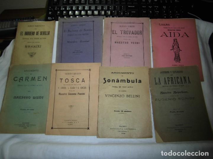 8 ARGUMENTOS DE OPERA 1900 LEER LOS TITULOS Y DESCRIPCION (Música - Libretos de Opera)