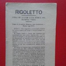 Libretos de ópera: LIBRETO DE OPERA ARGUMENTO RIGOLETTO DEL MAESTRO VERDI . Lote 103916763