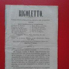 Libretos de ópera: LIBRETO DE OPERA ARGUMENTO RIGOLETTO DEL MAESTRO VERDI . Lote 103916795