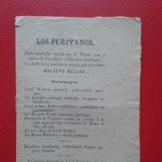 Libretos de ópera: LIBRETO DE OPERA ARGUMENTO LOS PURITANOS DEL MAESTRO BELLINI. Lote 103916879