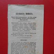 Libretos de ópera: LIBRETO DE OPERA ARGUMENTO LUCRECIA BORGIA DEL MAESTRO DONNIZETTI O DONIZETTI. Lote 103917379