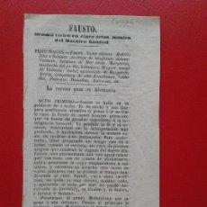 Libretos de ópera: LIBRETO DE OPERA ARGUMENTO DE FAUSTO DE GOETHE , MUSICA DEL MAESTRO GOUNOD . Lote 103917679
