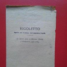 Libretos de ópera: LIBRETO DE OPERA ARGUMENTO RIGOLETTO DEL MAESTRO VERDI. Lote 103917779