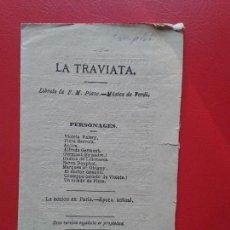 Libretos de ópera: LIBRETO DE OPERA ARGUMENTO LA TRAVIATA F. M. PIAVE MUSICA DE VERDI. Lote 103919307
