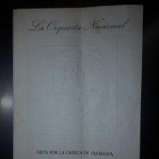 Libretos de ópera: LA ORQUESTA NACCIONAL VISTA POR LA CRÍTICA DE ALEMANIA - 12 PÁGINAS - AÑO 1967 . Lote 112287739