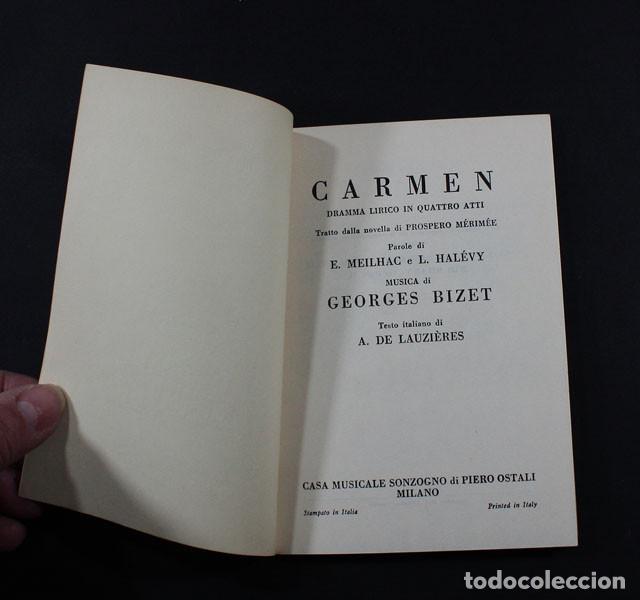 Libretos de ópera: LIBRETO OPERA CARMEN EN ITALIANO CASA MUSICALES SONZOGNO MILAN 1974 63 PAGINAS, BIZET - Foto 2 - 117424595
