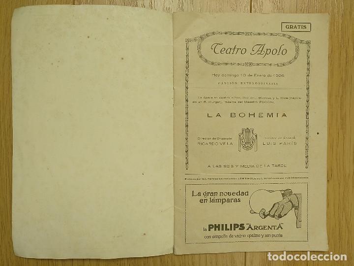 Libretos de ópera: LA BOHEMIA - PROGRAMA TEATRO APOLO - 1926 - Foto 2 - 118170499