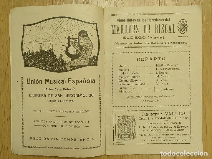 Libretos de ópera: LA BOHEMIA - PROGRAMA TEATRO APOLO - 1926 - Foto 3 - 118170499