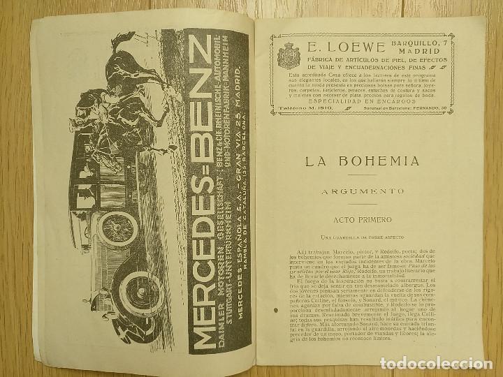 Libretos de ópera: LA BOHEMIA - PROGRAMA TEATRO APOLO - 1926 - Foto 4 - 118170499