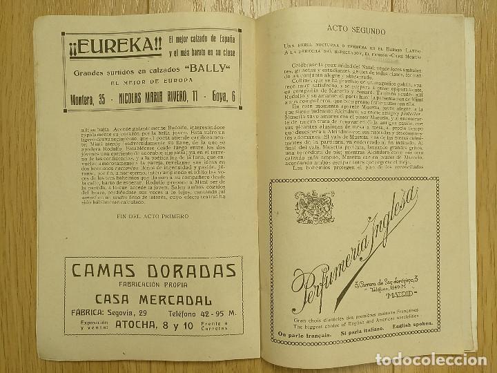 Libretos de ópera: LA BOHEMIA - PROGRAMA TEATRO APOLO - 1926 - Foto 6 - 118170499