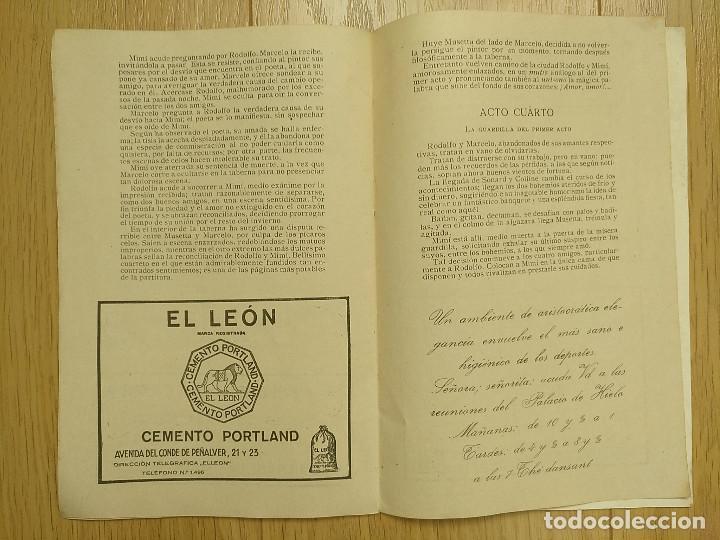Libretos de ópera: LA BOHEMIA - PROGRAMA TEATRO APOLO - 1926 - Foto 8 - 118170499