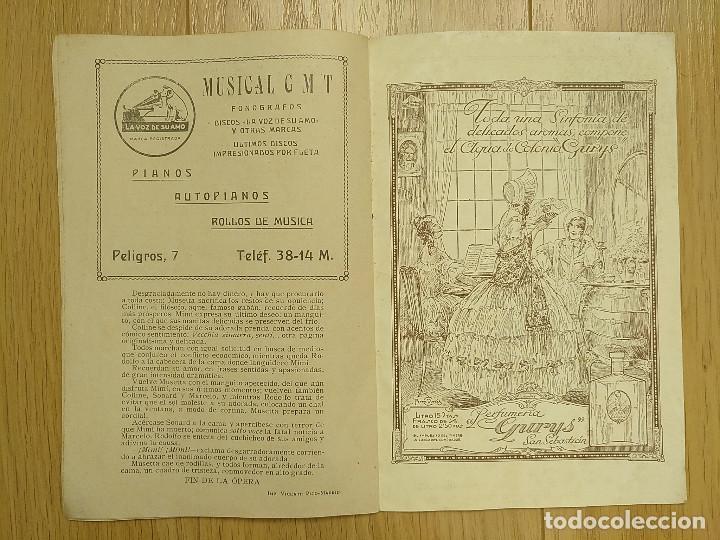 Libretos de ópera: LA BOHEMIA - PROGRAMA TEATRO APOLO - 1926 - Foto 9 - 118170499