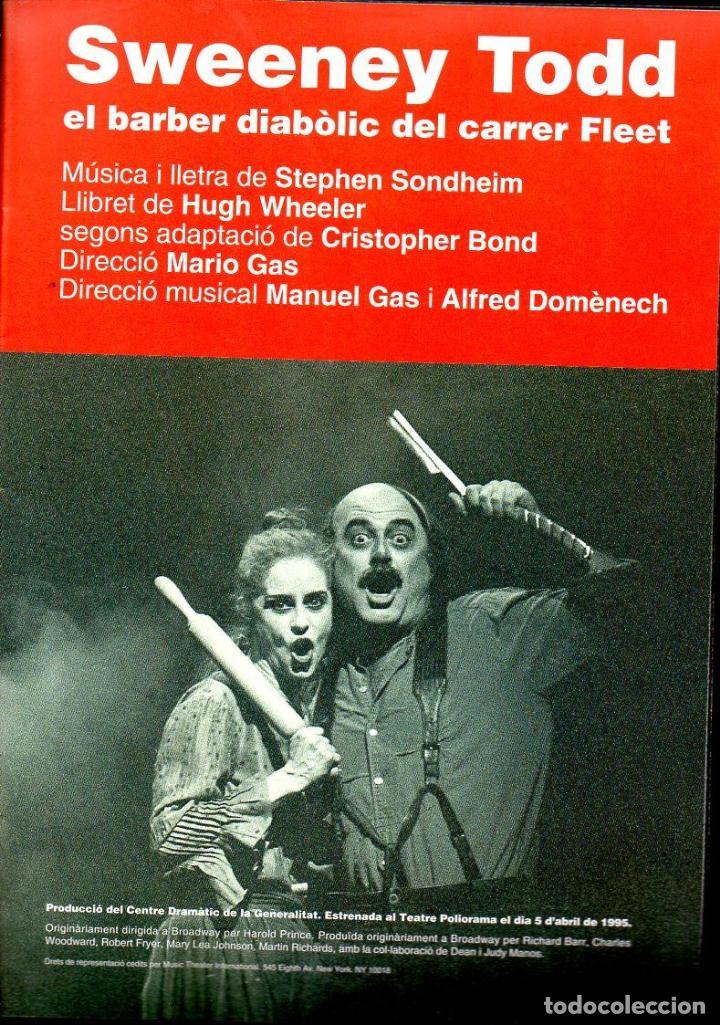 Libretos de ópera: SWEENEY TODD - PROGRAMA TEATRE POLIORAMA DE BARCELONA - CONSTANTINO ROMERO - 24 PÁGINAS. - Foto 2 - 123699350