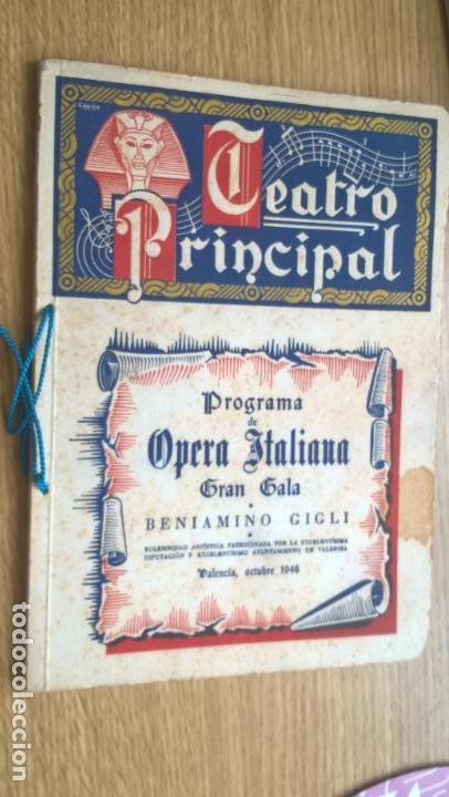 VALENCIA 1946. TEATRO PRINCIPAL. PROGRAMA DE OPERA ITALIANA. ABUNDANTE PUBLICIDAD. FOTOS (Música - Libretos de Opera)