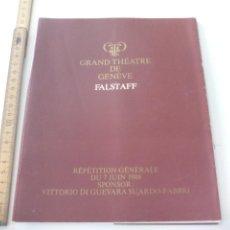 Libretos de ópera: PROGRAMA DE OPERA FALSTAFF. 1986. PROGRAMME THÉATRE DE GENEVE TEATRO GINEBRA SUIZA. Lote 123548827