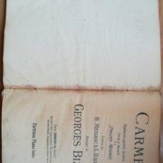 Libretos de ópera: CARMEN OPERA EN 4 ACTOS PARA PIANO. Lote 125196770