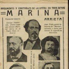 Libretos de ópera: MARINA, DEL MAESTRO EMILIO ARRIETA. AÑO ¿? (ÓPERA). Lote 138566054