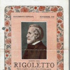 Libretos de ópera: RIGOLETTO, DE GIUSEPPE VERDI. AÑO 1928. (ÓPERA). Lote 138578026