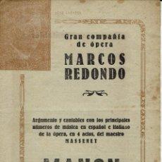 Libretos de ópera: MANON, DEL MAESTRO MASSENET. AÑO ¿? (ÓPERA). Lote 138580770