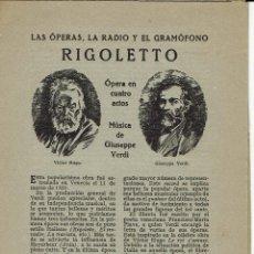 Libretos de ópera: RIGOLETTO, DE GIUSEPPE VERDI. AÑO ¿? (ÓPERA). Lote 138581278