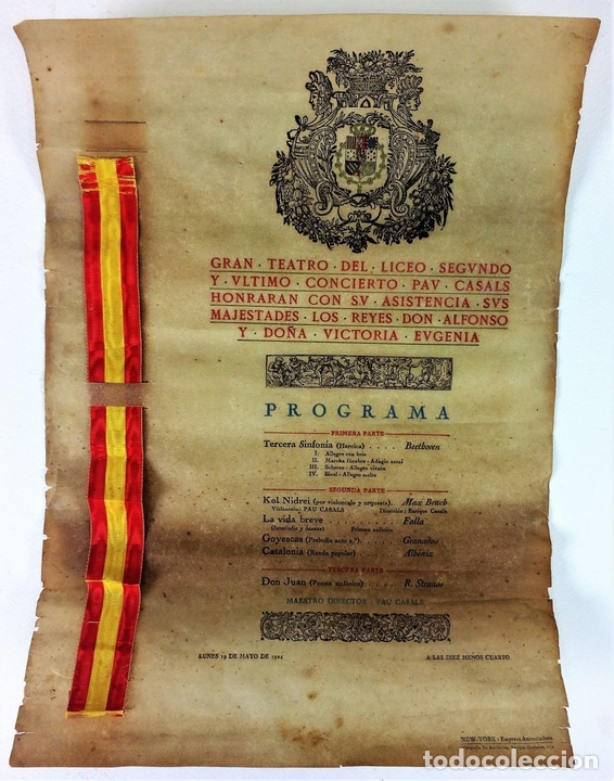 Libretos de ópera: PAU CASALS. PROGRAMA GRAN TEATRO DEL LICEO. 2o Y ÚLTIMO CONCIERTO. ESPAÑA. 19 MAYO 1924 - Foto 2 - 139187690