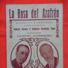 Livrets d'opéra: LA ROSA DEL AZAFRAN, LIBRITO ZARZUELA, FEDERICO ROMERO GUILLERMO FERNÁNDEZ, 12 PÁGINAS. Lote 140303330