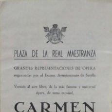 Libretos de ópera: ÓPERA CARMEN, LIBRETO. SEVILLA, LA MAESTRANZA 1962. Lote 140340158