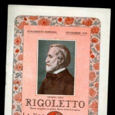 Libretos de ópera: RIGOLETTO - VERDI - 1928 - LA VOZ DE SU AMO . Lote 142860718