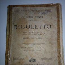 Libretos de ópera: VERDI : RIGOLETTO OPERA COMPLETA PARA PIANO (RICORDI). Lote 143758021