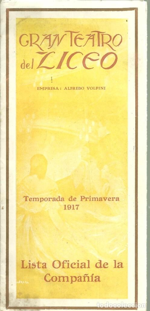 Libretos de ópera: 3835.- GRAN TEATRO DEL LICEO - EMPRESA ALFREDO VOLPINI- LISTA OFICIAL DE LA COMPAÑIA TEMPORADA 1917 - Foto 2 - 144075674