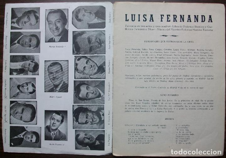 Libretos de ópera: LUISA FERNANDA. ZARZUELA EN TRES ACTOS Y TRES CUADROS. MUSICA FEDERICO MORENO TORROBA. 1932 - Foto 2 - 147759514