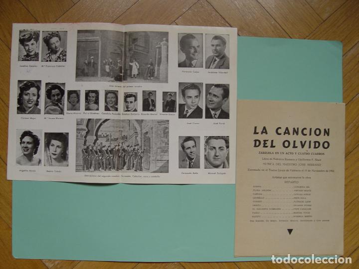 Libretos de ópera: Folleto libreto: Zarzuela LA CANCIÓN DEL OLVIDO (Madrid, 1950's). Original. Coleccionista. ¡Raro! - Foto 3 - 148431822