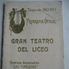 Libretos de ópera: ÓPERA. GRAN TEATRO DEL LICEO. TEMPORADA 1912-1913. OTELLO DE VERDI. Lote 154980974